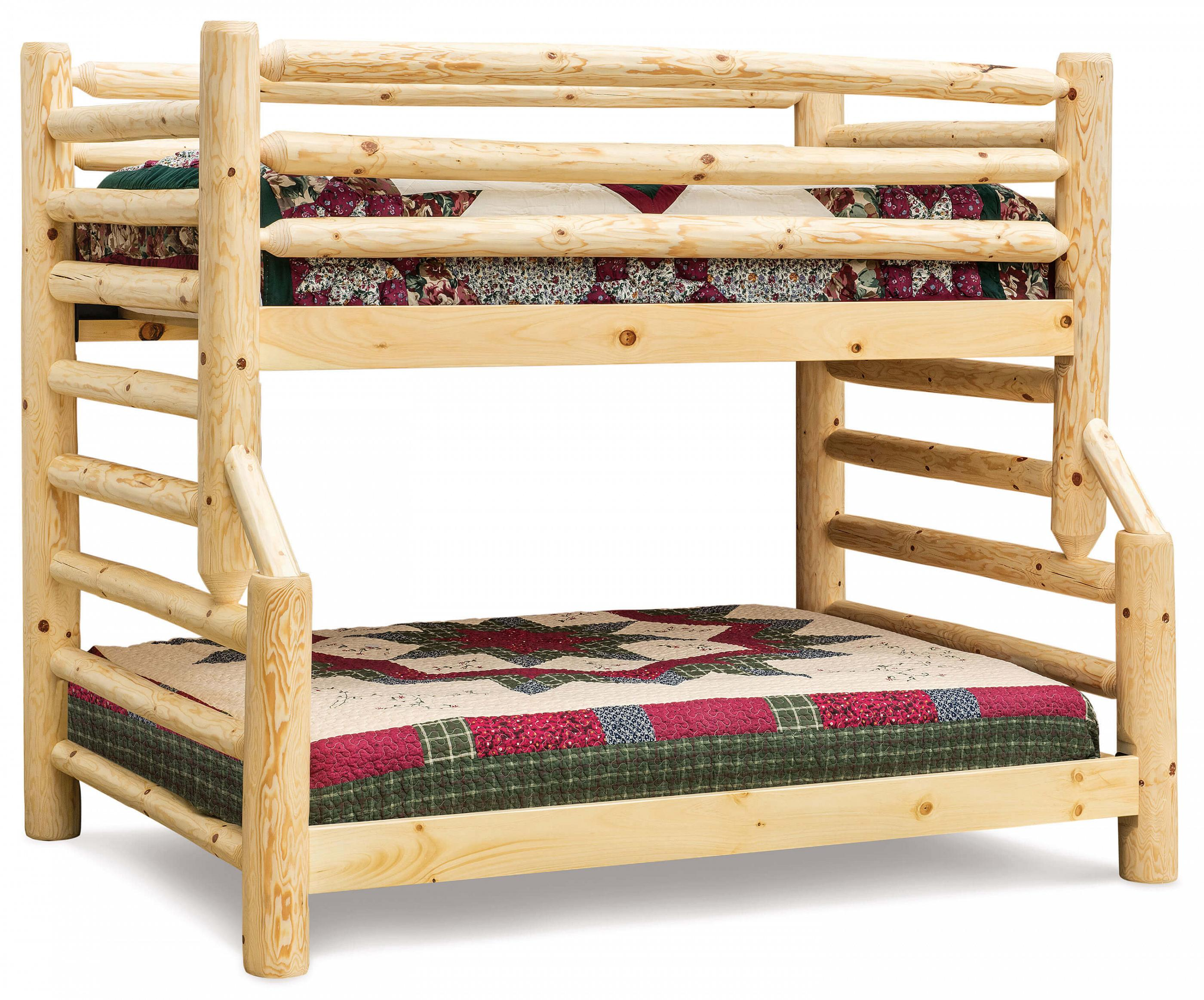 Fireside Log Furniture Econo Full Twin Bunk Bed Plain Pine
